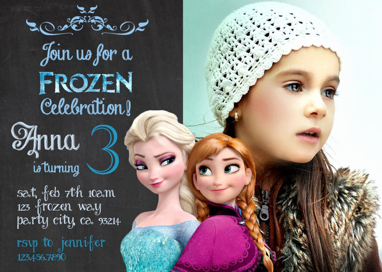 Personalized Frozen Birthday Invitations Elegant Frozen Birthday Invitation Disney S Frozen by Greyhoundgraphics