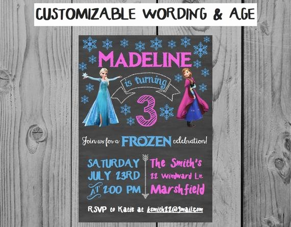 Personalized Frozen Birthday Invitations Inspirational Custom Chalkboard Frozen Birthday Invitation Frozen Party Anna