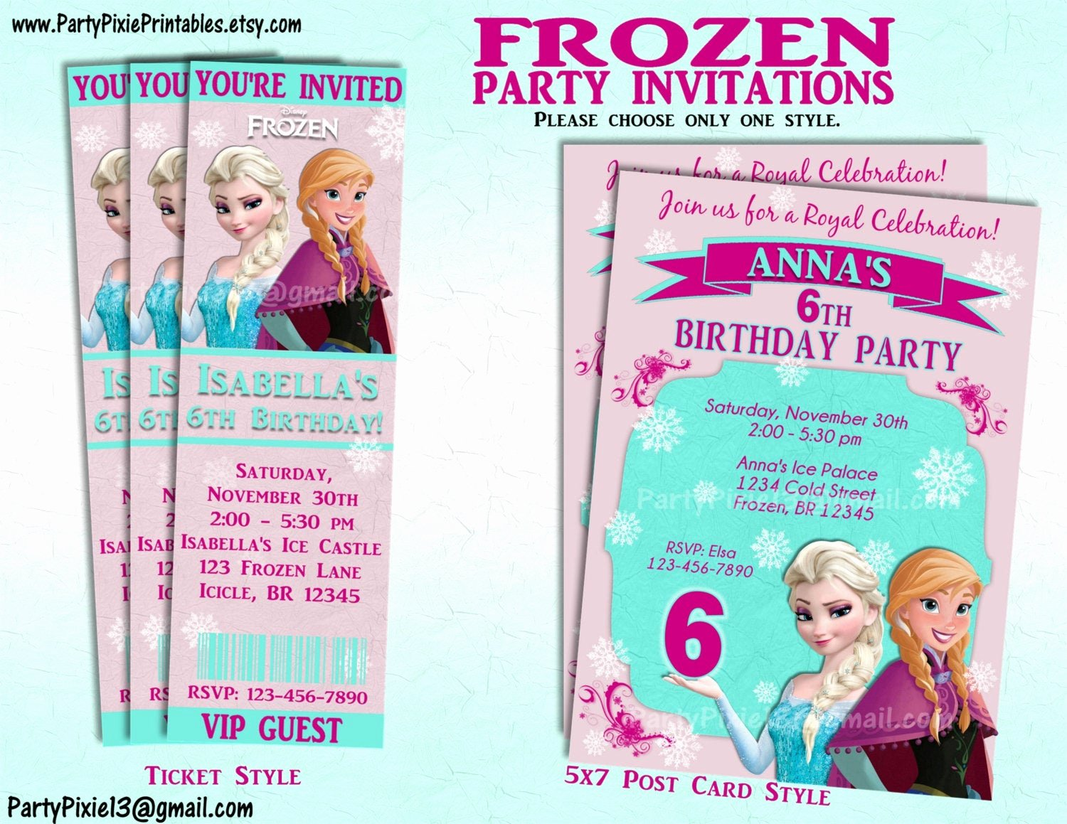 Personalized Frozen Birthday Invitations Inspirational Disney Frozen Party Invitation and or Party Package Printable
