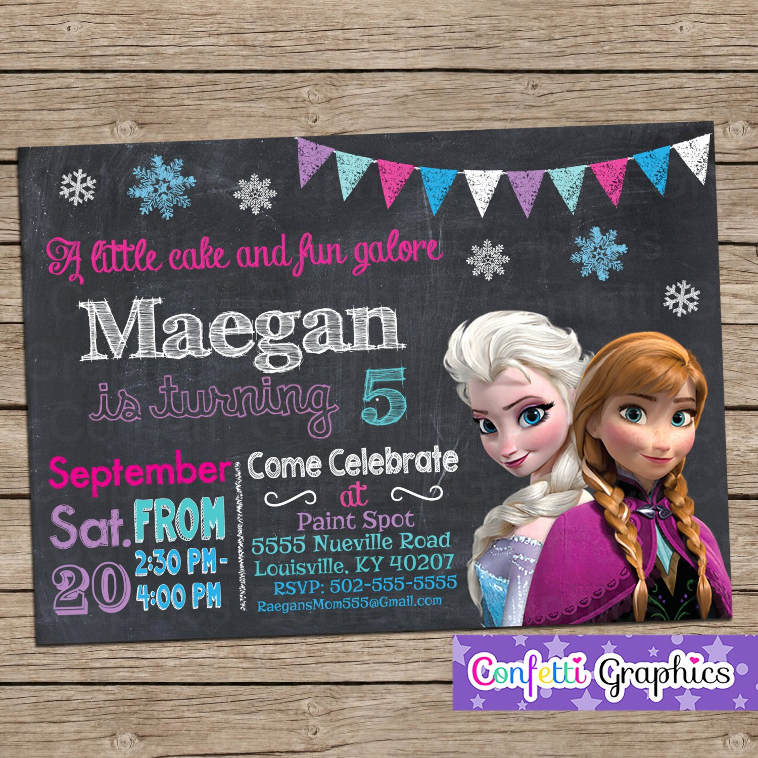 frozen birthday invitation chalkboard