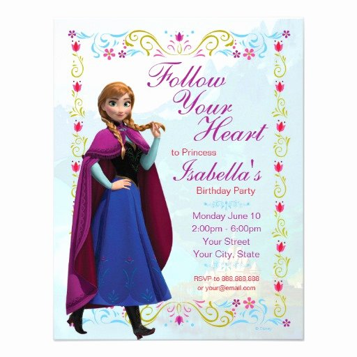 Personalized Frozen Birthday Invitations Luxury Frozen Anna Birthday Invitation Custom Invitation