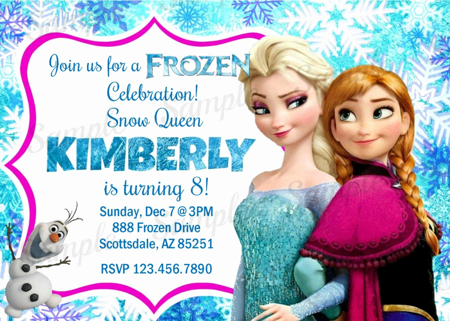 Personalized Frozen Birthday Invitations Unique Personalized Frozen Birthday Invitations