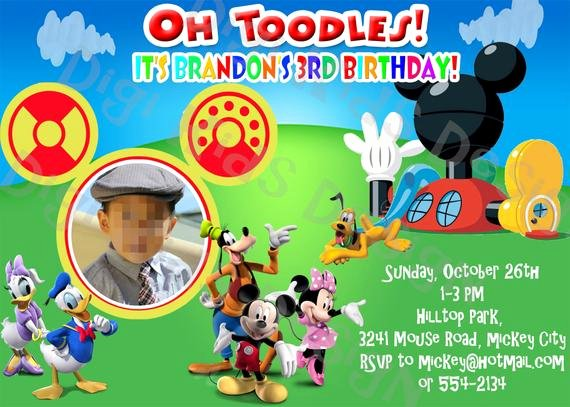 Personalized Mickey Mouse Invitations Awesome Mickey Mouse Clubhouse Personalized Birthday by Digikidsdesign