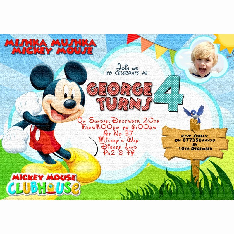 Personalized Mickey Mouse Invitations Beautiful Personalized Disney Mickey Mouse Invitations Thank You Cards
