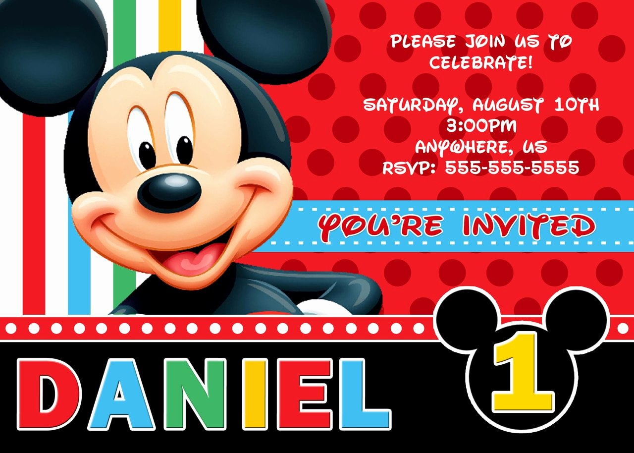 Personalized Mickey Mouse Invitations Elegant Disney Mickey Mouse Birthday Custom Invitations Partyexpressinvitations