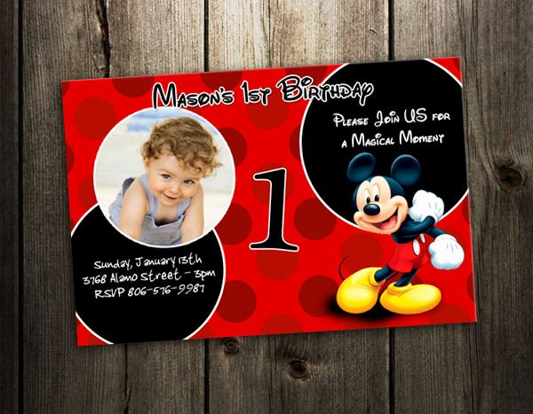 Personalized Mickey Mouse Invitations Elegant Mickey Mouse Birthday Invitation Party Card Custom Photo Invite B5 9 Designs