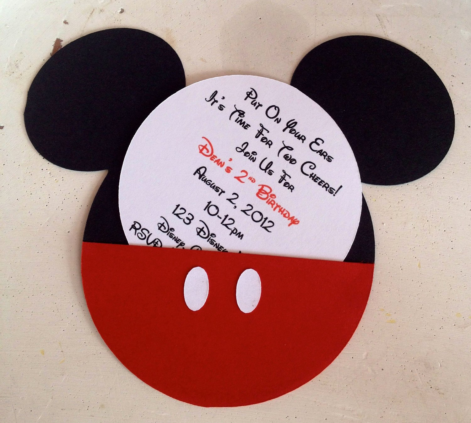 Personalized Mickey Mouse Invitations Fresh Handmade Custom Red Mickey Mouse Birthday Invitations Set Of