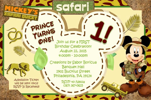Personalized Mickey Mouse Invitations Fresh Personalized Mickey Mouse Safari Birthday Invitation