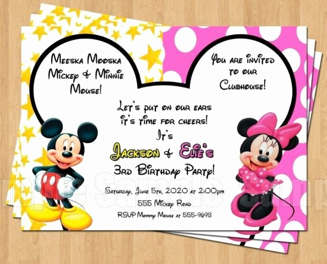 Personalized Mickey Mouse Invitations Inspirational 10 Minnie Mickey Mouse Twins Birthday Party Invitations Personalized Red Yellow for Sale Online