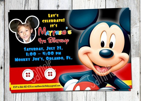Personalized Mickey Mouse Invitations Inspirational Mickey Mouse Birthday Invitation Printable Boys Personalized