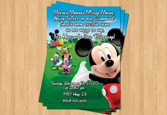 Personalized Mickey Mouse Invitations Luxury Mickey Mouse Clubhouse Birthday Party Personalized Invitation