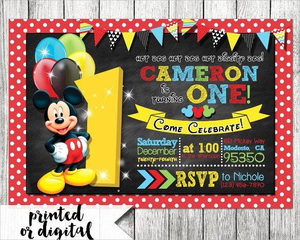 Personalized Mickey Mouse Invitations Luxury Sample Mickey Mouse Invitation Template 13 Download Documents In Pdf Psd Word