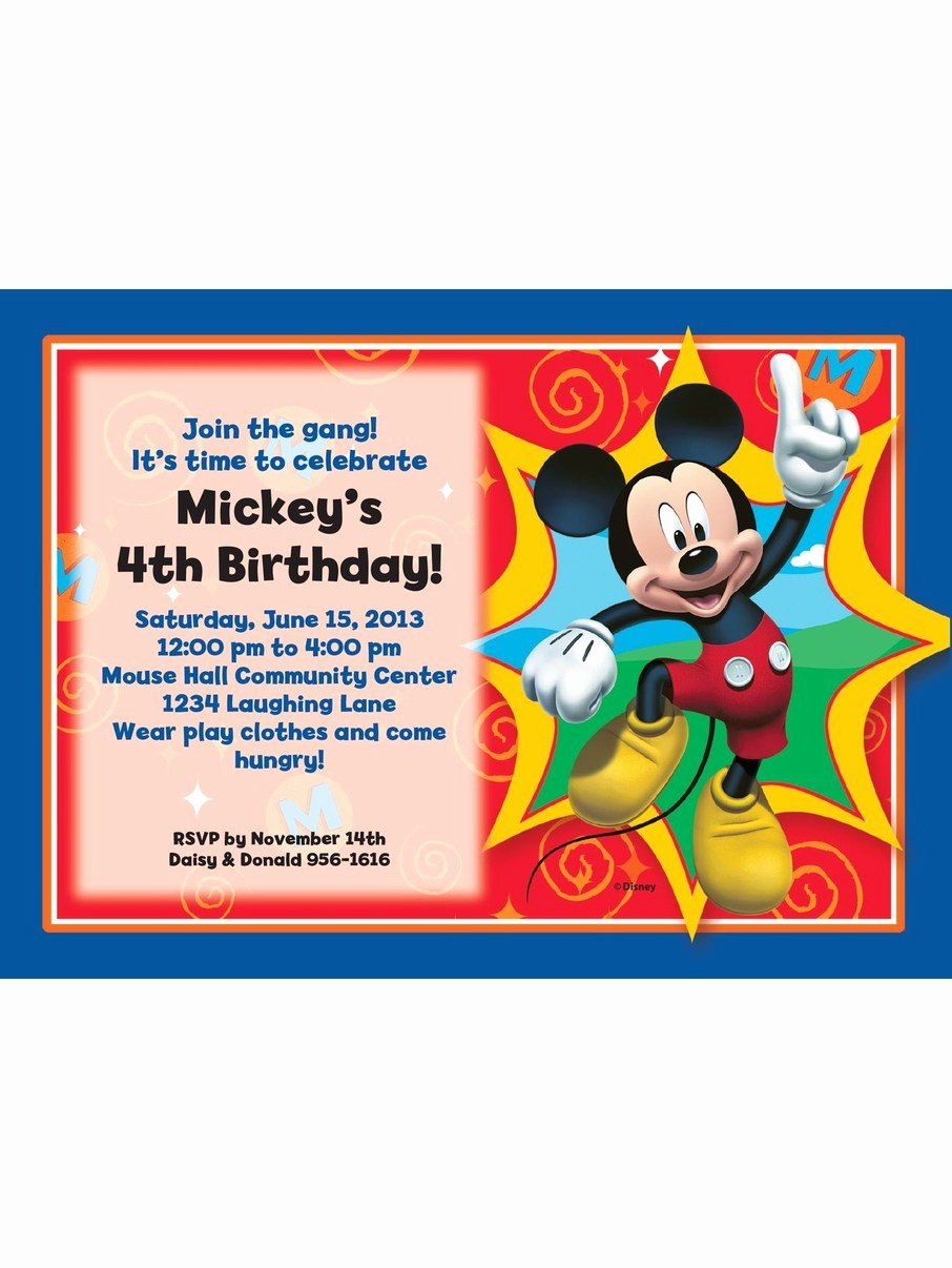 Personalized Mickey Mouse Invitations New Mickey Mouse Personalized Invitation Each Discount Personalized Supplies and Decorations