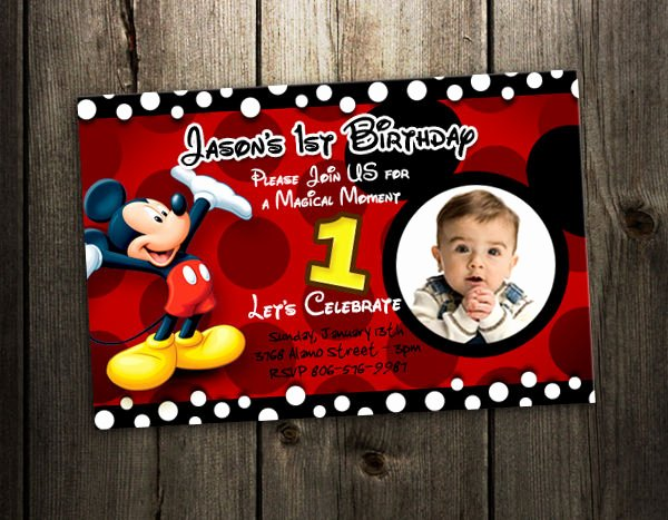 Personalized Mickey Mouse Invitations Unique Mickey Mouse Birthday Invitation Party Card Photo Invites 1st N4 9 Designs