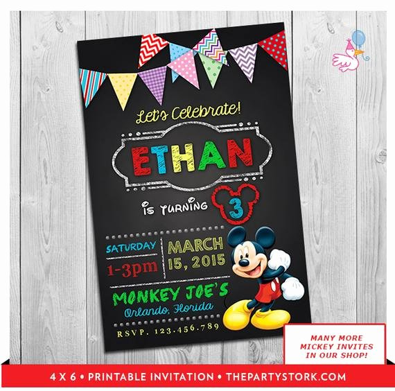Personalized Mickey Mouse Invitations Unique Mickey Mouse Clubhouse Invitations Printable Personalized Boy