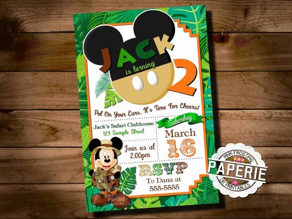 Personalized Mickey Mouse Invitations Unique Safari Mickey Mouse Birthday Invitation Jungle Mickey Mouse Invitation Personalized Printable