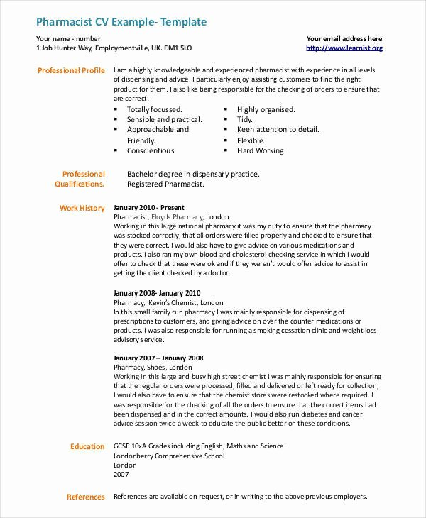 Pharmacist Curriculum Vitae Template Beautiful 20 Cv Examples In Pdf