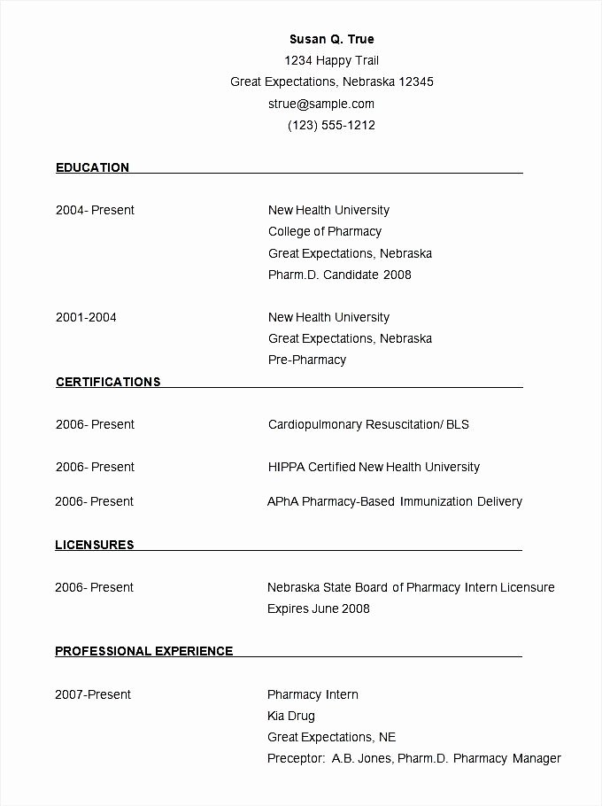 Pharmacist Curriculum Vitae Template Fresh Pharmacist Cv Template Free Samples Examples & format Resume Curruculum Vitae Free