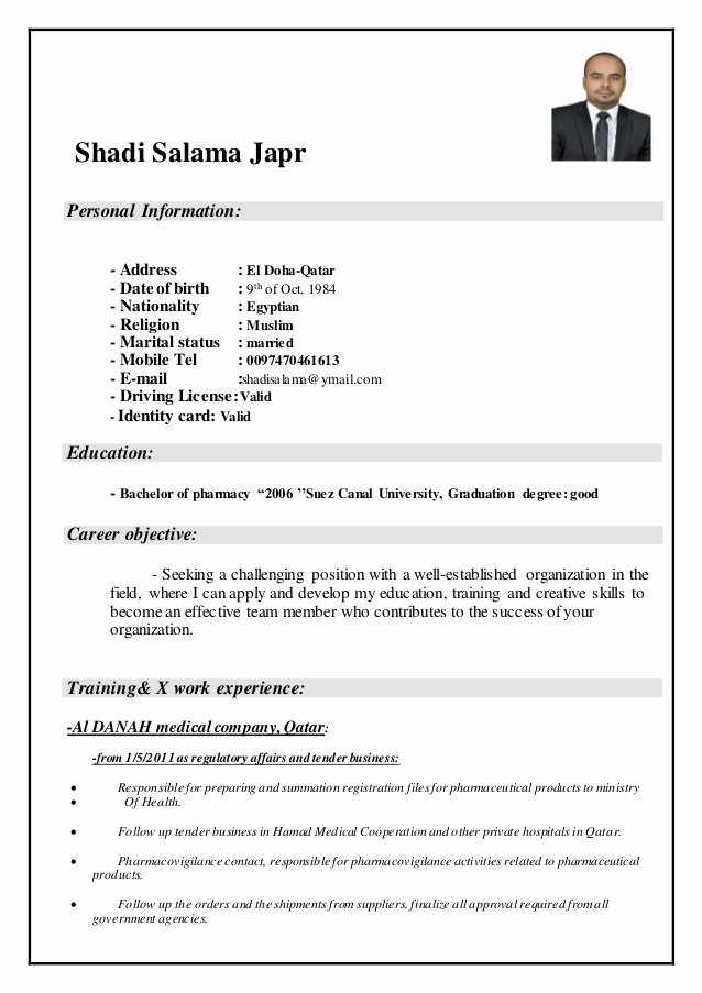 Pharmacist Curriculum Vitae Template Inspirational Shadi Salama Cv Pharmacist