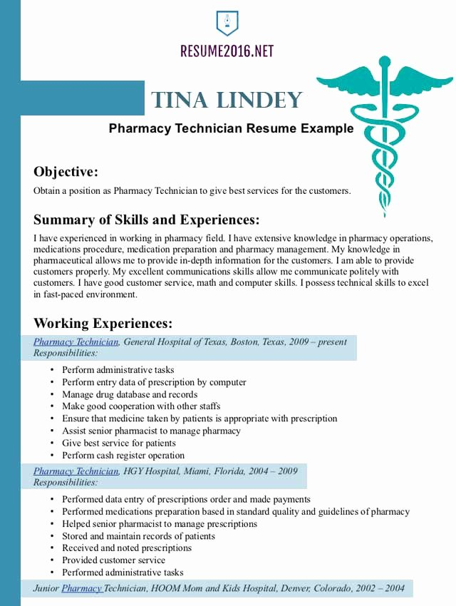 Pharmacist Curriculum Vitae Template Luxury Pharmacist Resume Example 2016