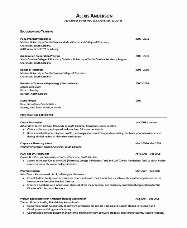 Pharmacist Curriculum Vitae Template New Pharmacist Resume Template 6 Free Word Pdf Document Downloads