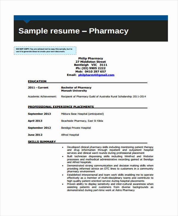 Pharmacy Curriculum Vitae Template Awesome 11 Student Curriculum Vitae Templates Pdf Doc