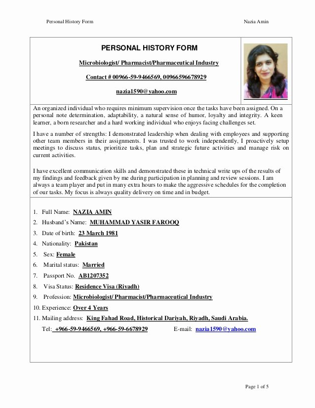 Pharmacy Curriculum Vitae Template Beautiful Nazia Amin Cv Pharmacist 1 Jan 2016