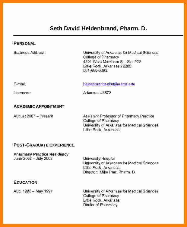 Pharmacy Curriculum Vitae Template Fresh 6 Cv Pharmacy Student