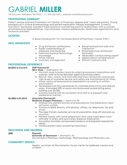 Pharmacy Curriculum Vitae Template Fresh Best Pharmacist Resume Example