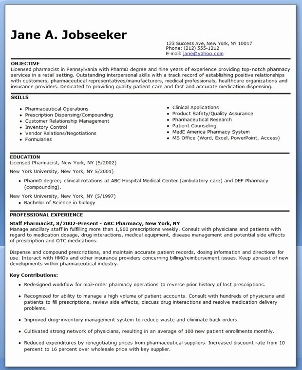 Pharmacy Curriculum Vitae Template Fresh Pharmacist Resume Sample Resume Examples Professional