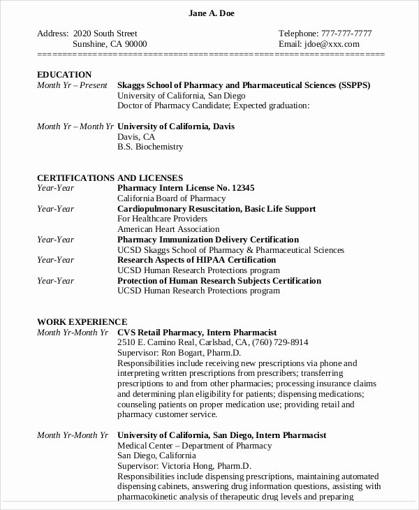 Pharmacy Curriculum Vitae Template Inspirational 7 Pharmacist Curriculum Vitae Templates Free Word Pdf format Download