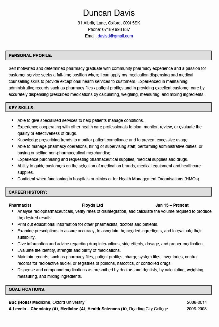 Pharmacy Curriculum Vitae Template Inspirational Curriculum Vitae for Pharmacist 14 – Guatemalago