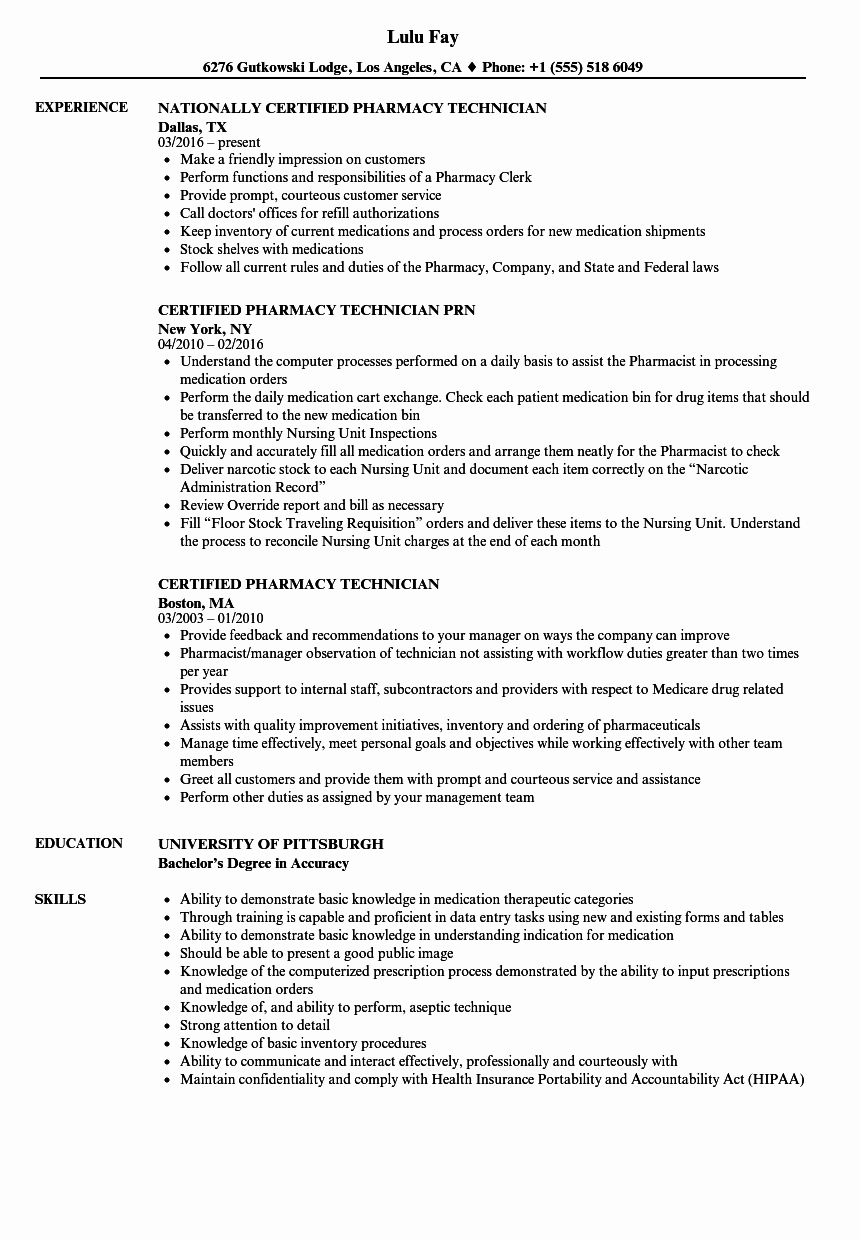 Pharmacy Technician Resume Objective Awesome Certified Pharmacy Technician Resume Samples