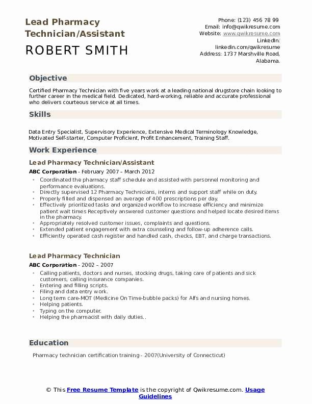 Pharmacy Technician Resume Objective Awesome Lead Pharmacy Technician Resume Samples