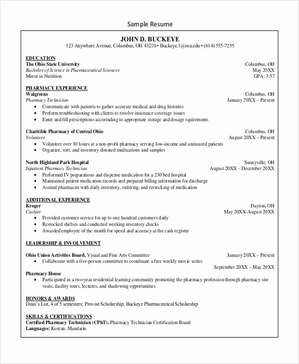 Pharmacy Technician Resume Objective Awesome Sample Pharmacy Technician Resume 7 Examples In Word Pdf