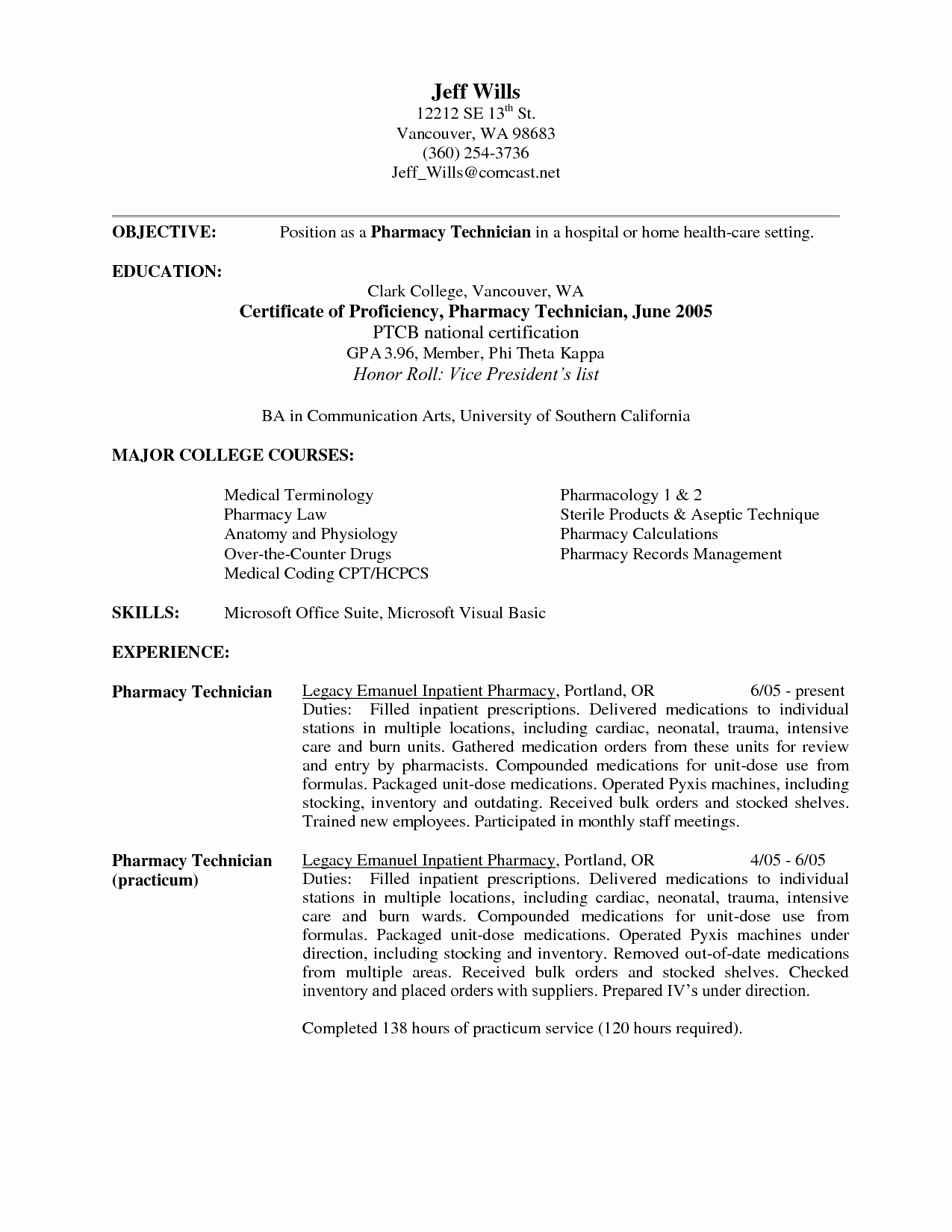 Pharmacy Technician Resume Objective Elegant Pharmacy Technician Objective Resume Samples Cpht