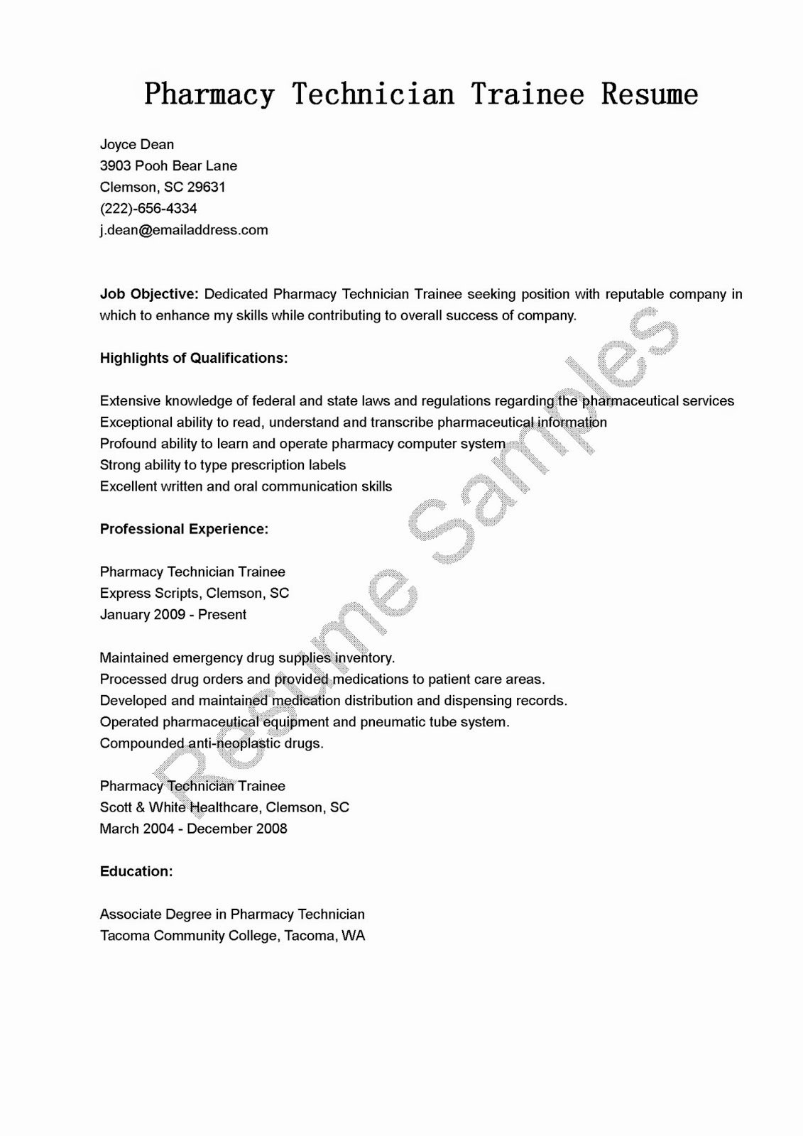 Pharmacy Technician Resume Objective Inspirational Resume Samples Pharmacy Technician Trainee Resume Sample