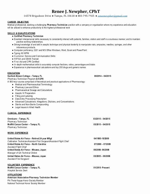 Pharmacy Technician Resume Objective Lovely Cpht Pharmacy Technician Resume 2015 Renee Newpher