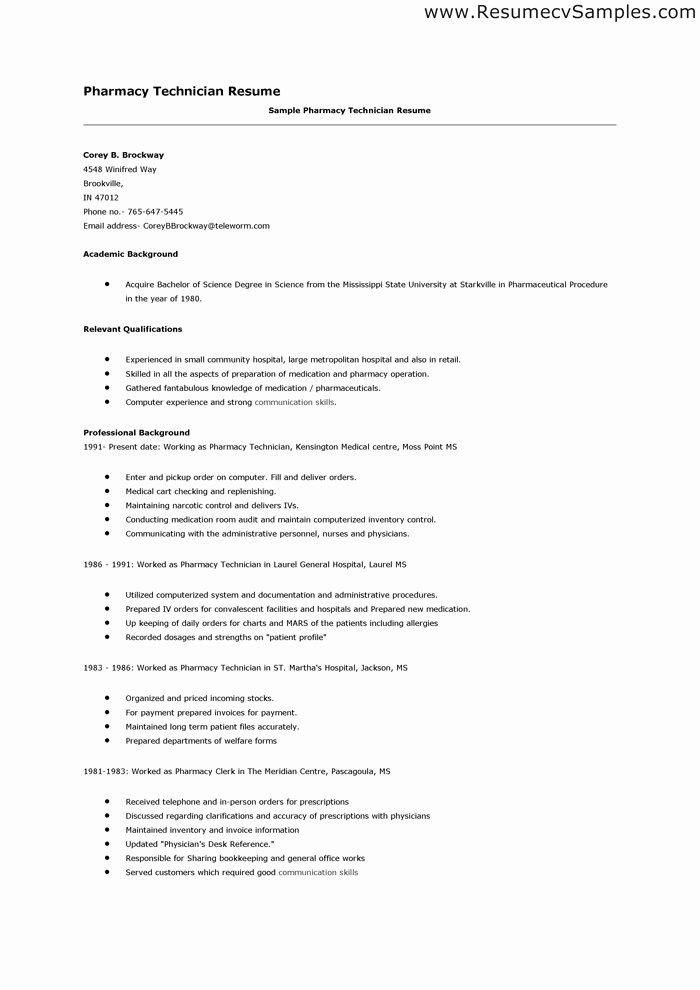 Pharmacy Technician Resume Objective Lovely Pharmacy Technician Resume Skills