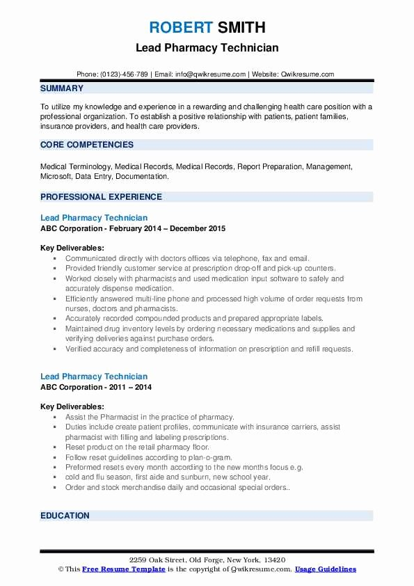 Pharmacy Technician Resume Objective Luxury Lead Pharmacy Technician Resume Samples