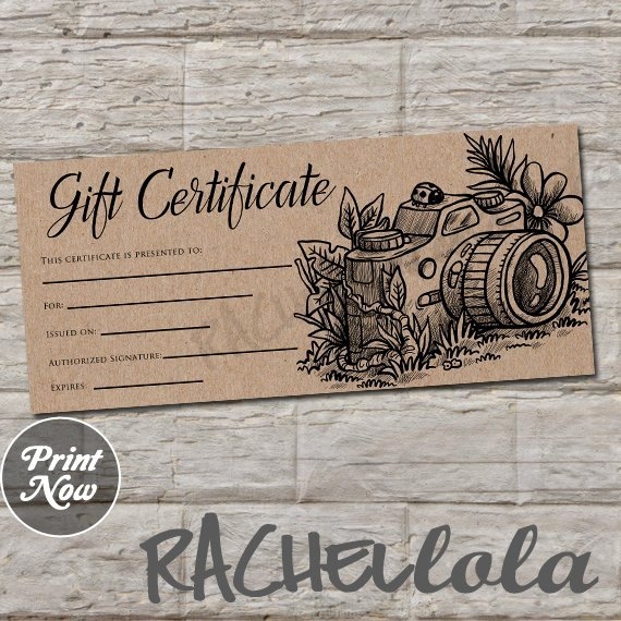 Photo Session Gift Certificate Beautiful Rustic Kraft Printable Graphy Gift Certificate