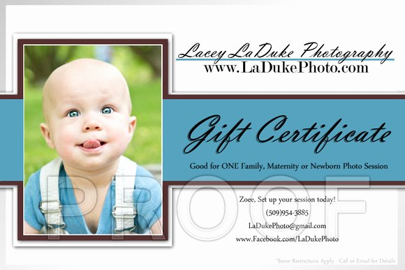 Photo Session Gift Certificate Fresh Lacey Laduke Graphy Card Examples