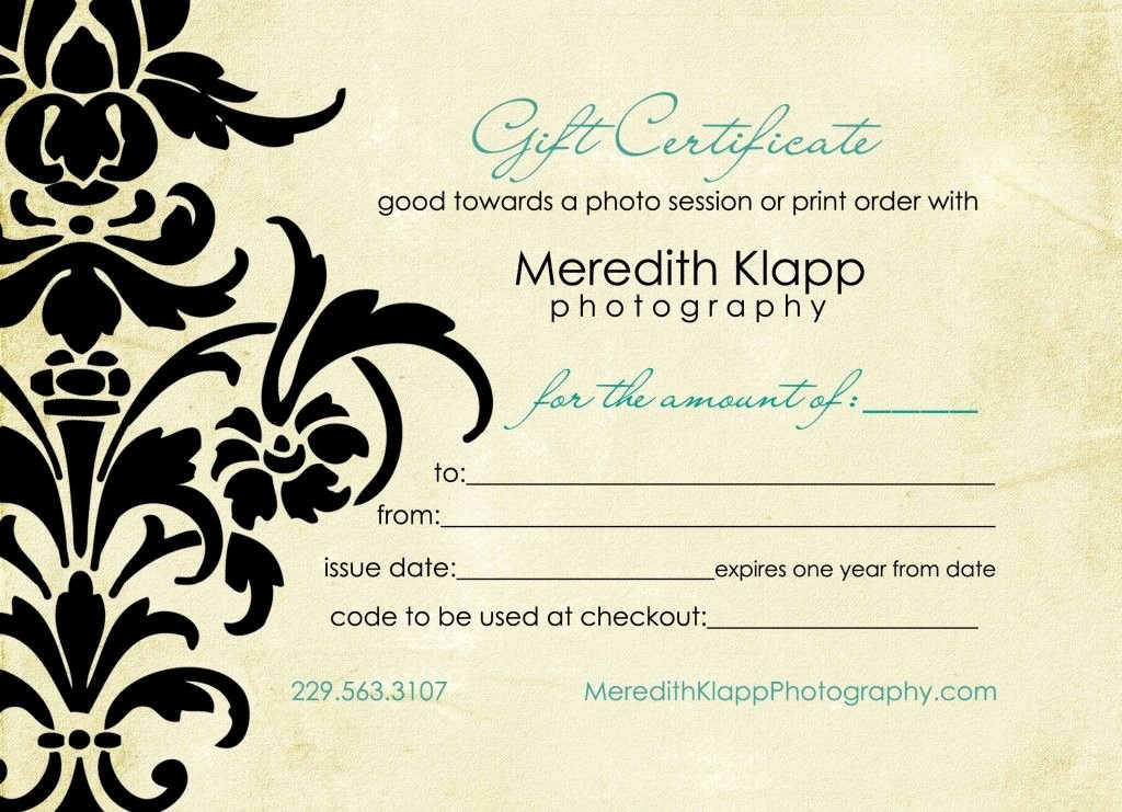 Photo Session Gift Certificate Inspirational Photography T Certificates T Certificate for Free