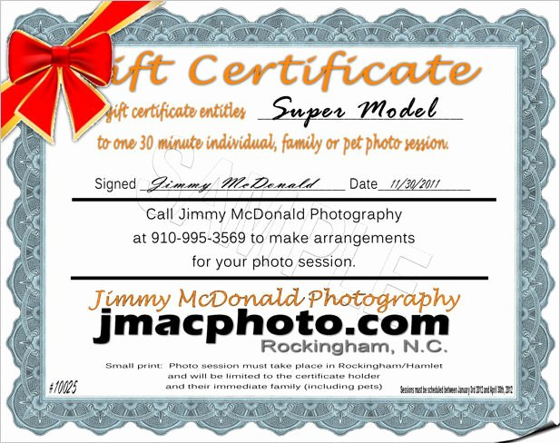 Photo Session Gift Certificate Inspirational Session Gift Certificates Richmond County Nc