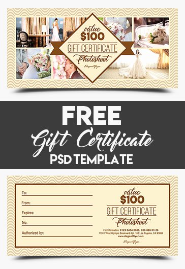 Photo Session Gift Certificate Inspirational Shoot – Free Gift Certificate Psd Template – by