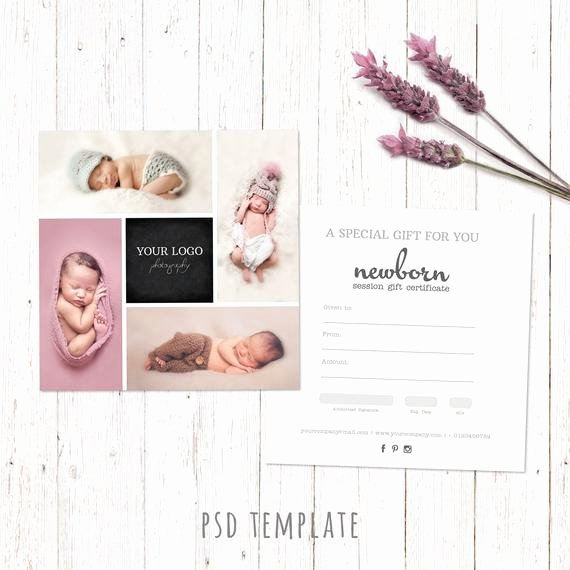 Photo Session Gift Certificate Luxury Gift Certificate Template Newborn Session Photography T