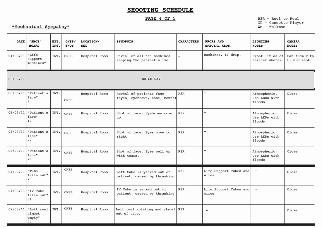 Photo Shoot Schedule Template Luxury Shooting Schedule Blood Rush Productions