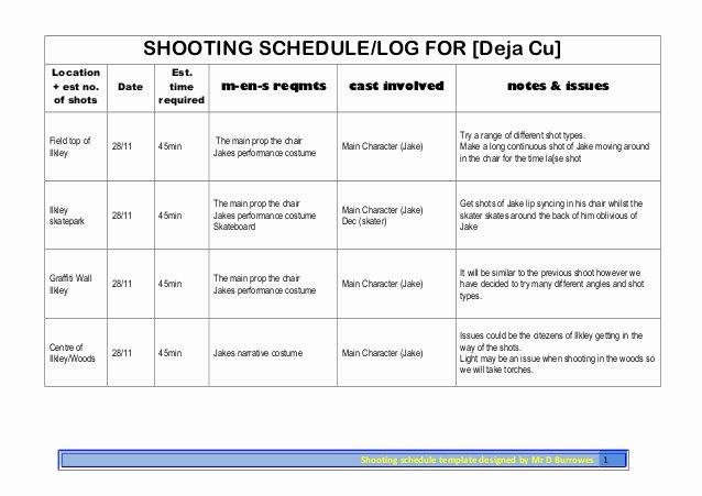 Photo Shoot Schedule Template Unique Shooting Schedule Shoot 3