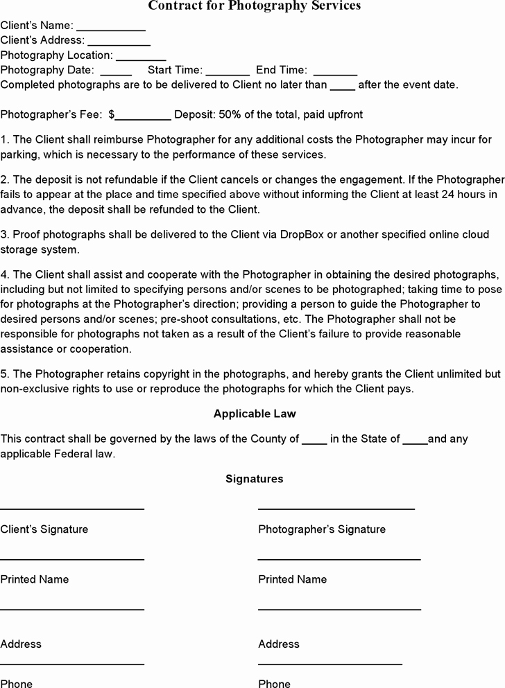 Photography Contract Template Pdf Awesome event Graphy Contract Template Me and My Camera