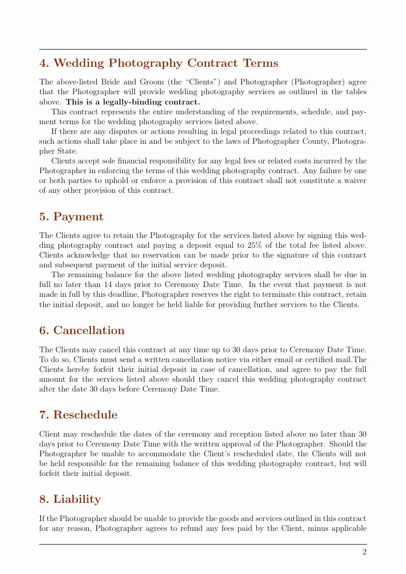 Photography Contract Template Pdf Best Of Contracts Wedding Graphy Contract Template Template